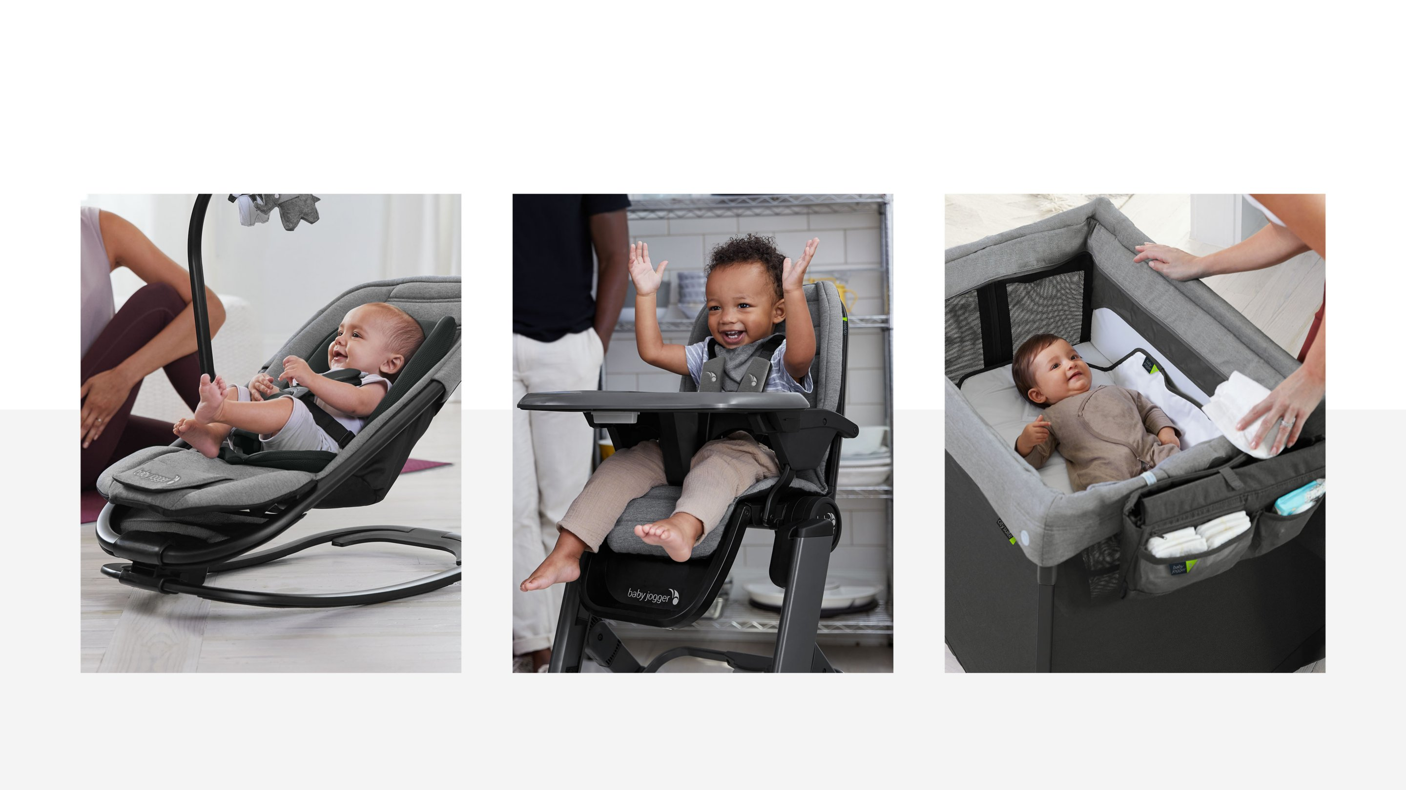 city sway 2 in 1 rocker and bouncer, city bistro high chair, and city suite multi level playard