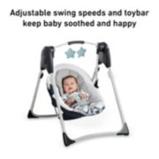adjustable swing speeds and toybar keep baby soothed and happy. image number 4