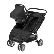 city mini 2 double stroller with maxi-cosi car seat adapter with cover front side view image number 1