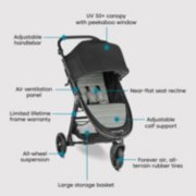 stroller with UV 50+ canopy with window, near flat seat recline, adjustable calf support, forever air, all terrain tires, all wheel suspension, limited lifetime frame warranty, air vent panel, adjustable handlebar image number 6