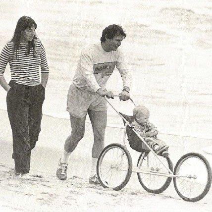 vintage photo of family on beach
