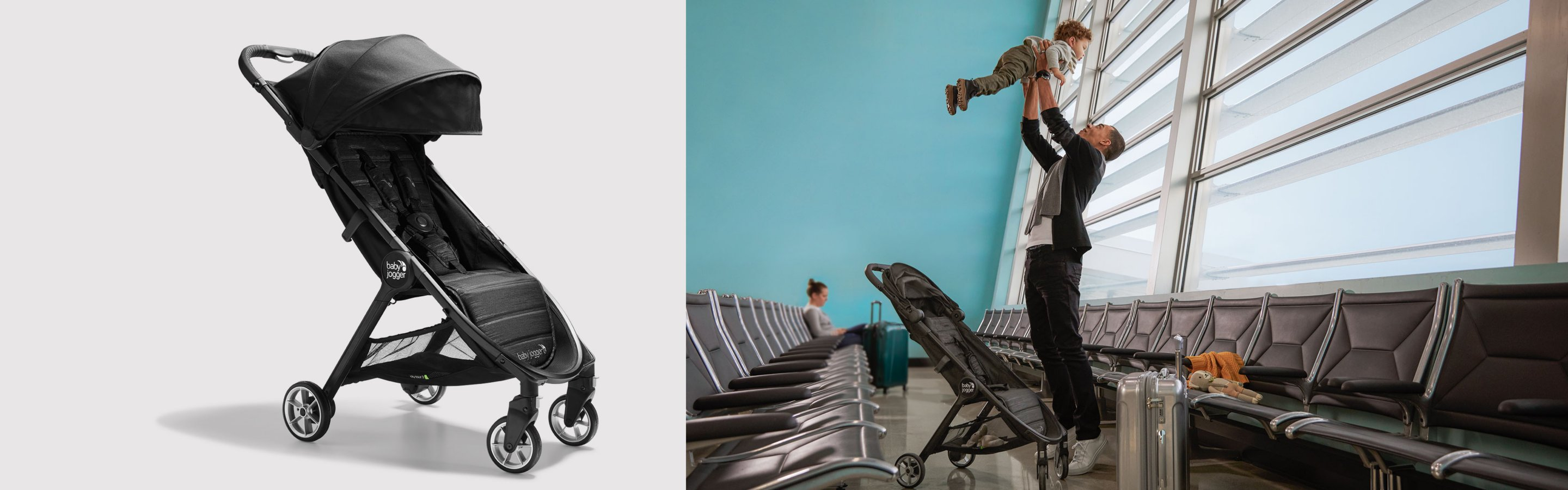 father lifting child out of jogger stroller at airport terminal