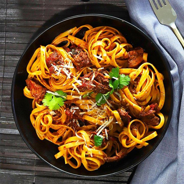 prepared meal inside pan
