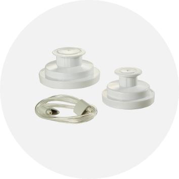 white jar sealing kit with wide mouth jar sealer and regular jar sealer and accessory hose